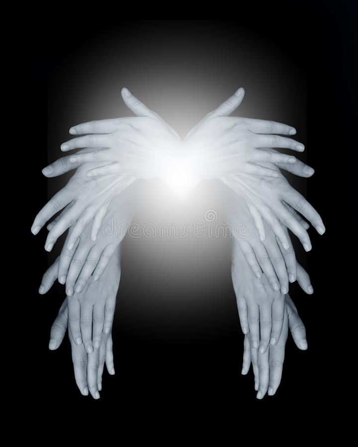 Angel wings. Made out of hands stock images