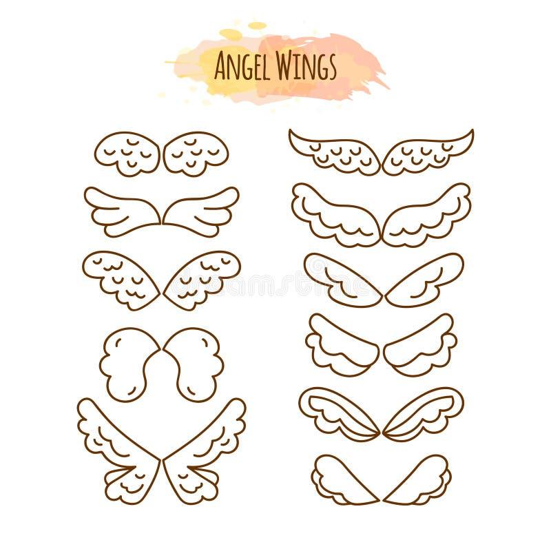 Angel Wings na linha estilo ilustração stock