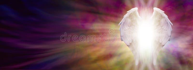 Angel Wings och läka det ljusa banret stock illustrationer