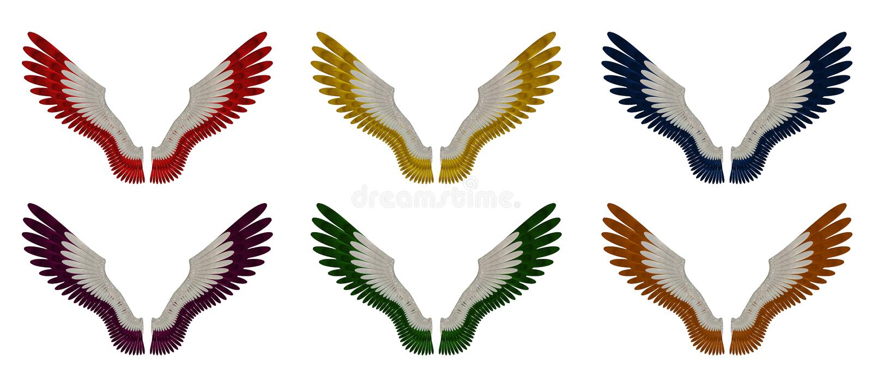 Angel Wings Pack - únicas cores sortidos ilustração do vetor