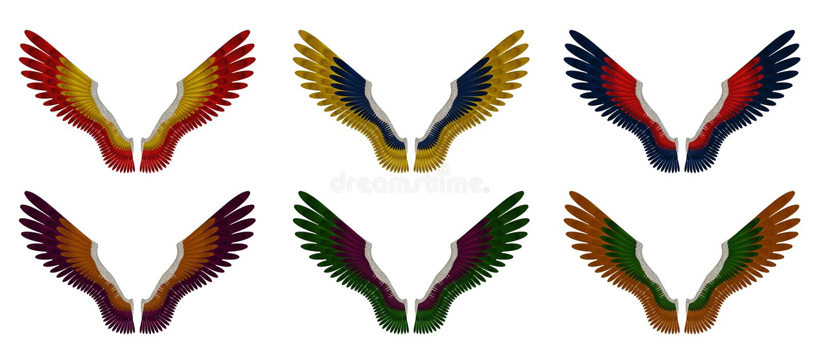 Angel Wings Pack - Assorted Double Colours vector illustration