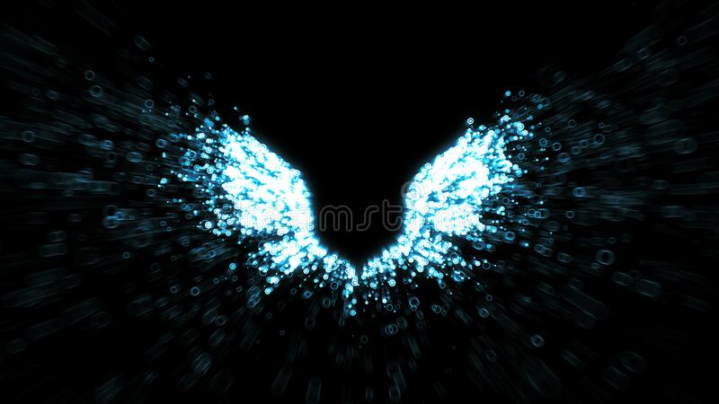 Angel wings - paricles streaming from feathers - religious symbolism stock photography