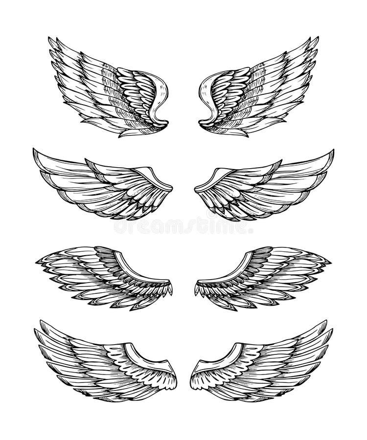 Angel Wings Preto abstrato projeto voado Grupo isolado tirado mão da asa do pássaro de Eagle ilustração stock
