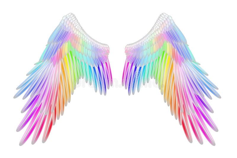 Angel wings. In rainbow color royalty free illustration