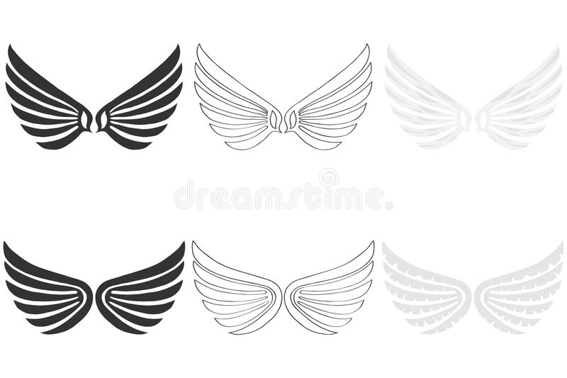 Angel Wings. A set of wings. Flat design, vector illustration, vector royalty free illustration