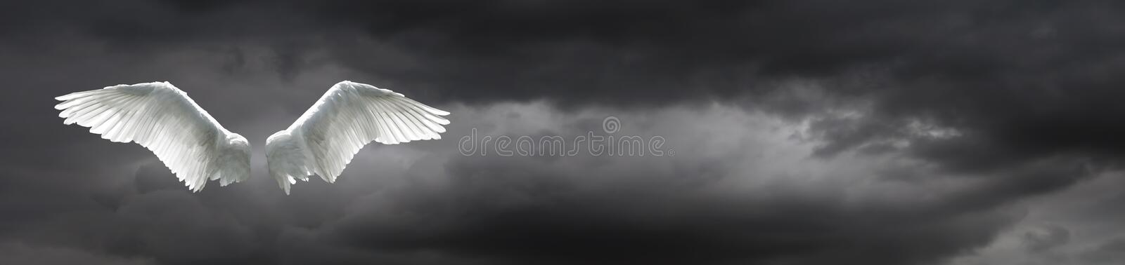 Angel wings with stormy sky background royalty free stock photo