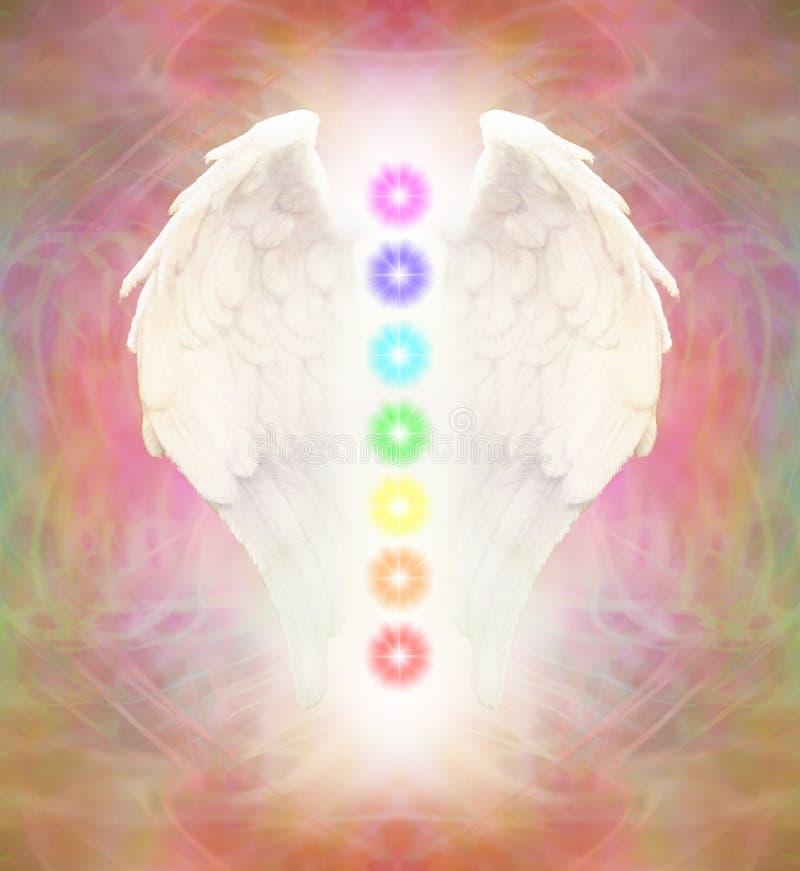 Angel Wings und sieben Chakras stock abbildung