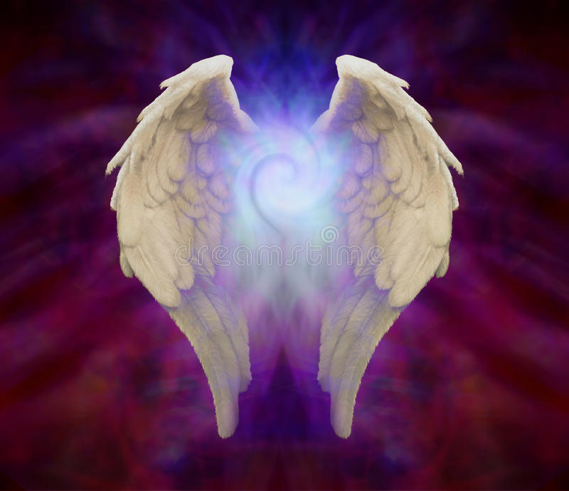 Angel Wings and Universal Spiral. Symbolic angel wings on a dark background and a Spiral between the wings royalty free illustration