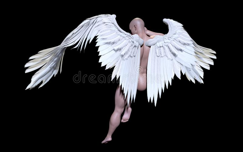 Angel Wings vita Wing Plumage Isolated med den snabba banan vektor illustrationer