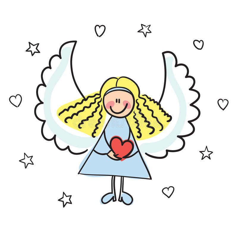 Free Angel With Heart Vector Illustration Royalty Free Stock Photography - 12128797