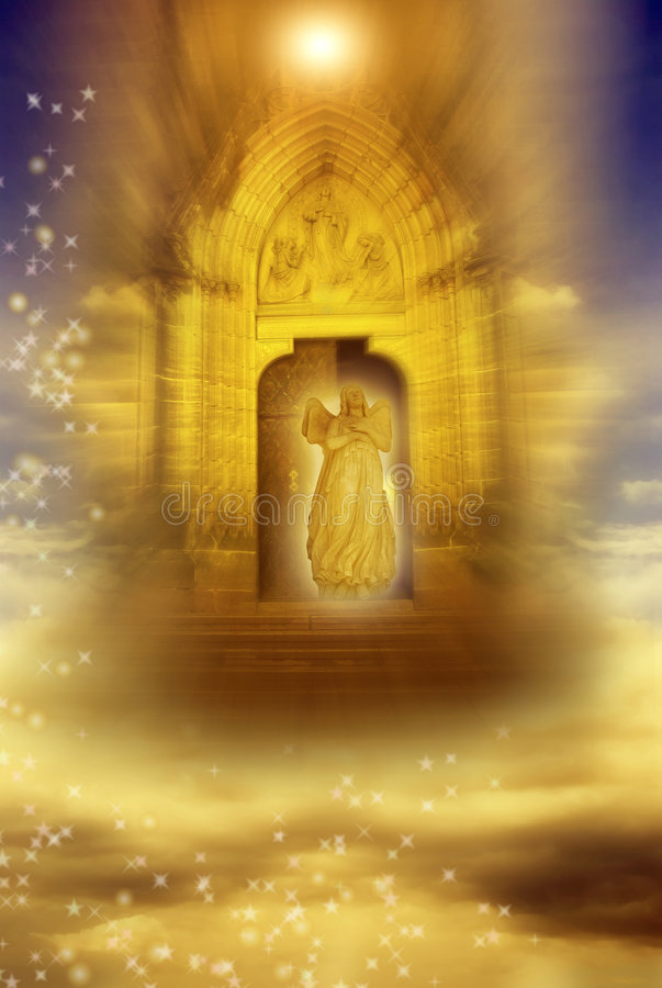 Free Angel With Mystical Gate Royalty Free Stock Photos - 8268668