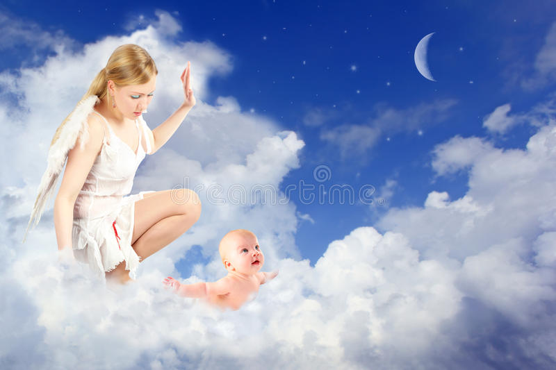 Angel woman and baby in clouds collage royalty free stock image
