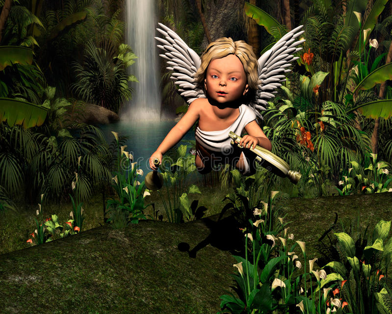 Angel in the woods royalty free stock image