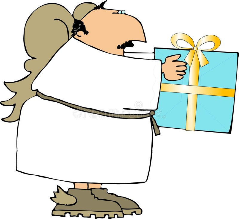 Download Angel With A Wrapped Gift Stock Images - Image: 1592994
