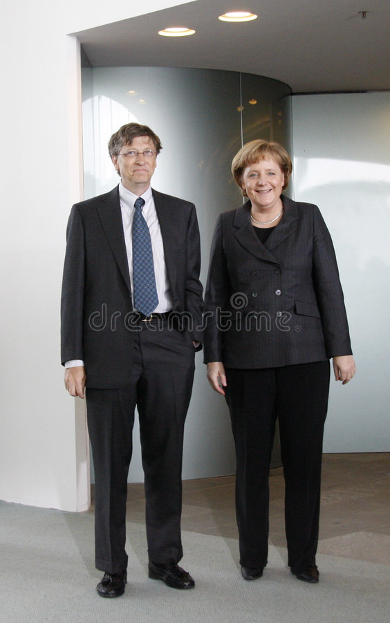 Angela Bill Gates merkel στοκ φωτογραφία