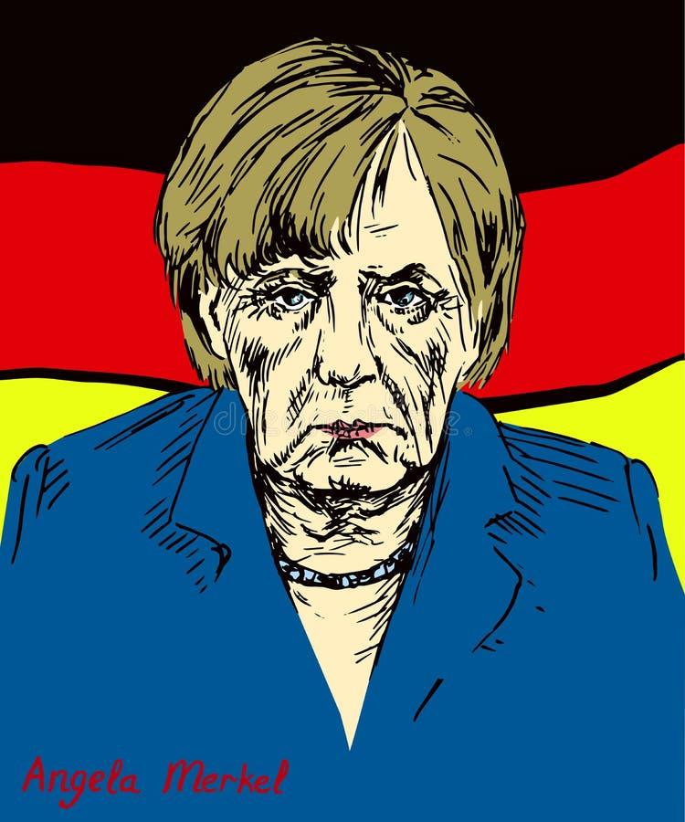 Angela Dorothea Merkel kanclerz Niemcy, lider Chrześcijański Demokratyczny zjednoczenie CDU ilustracji