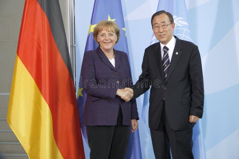Angela Merkel, Ban Ki Moon. JULY 15, 2008 - BERLIN: Secretary General of the UN, Ban Ki-Moon, German Chancellor Angela Merkel - meeting in the Chanclery in royalty free stock photography