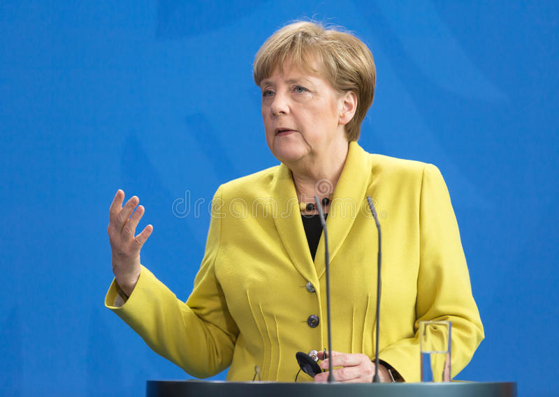 Angela Merkel. BERLIN, GERMANY - Mar. 16, 2015: Chancellor of the Federal Republic of Germany Angela Merkel during a joint briefing with President of Ukraine royalty free stock image