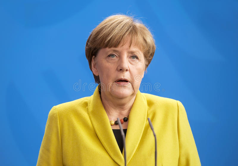 Angela Merkel. BERLIN, GERMANY - Mar. 16, 2015: Chancellor of the Federal Republic of Germany Angela Merkel during a joint briefing with President of Ukraine royalty free stock images