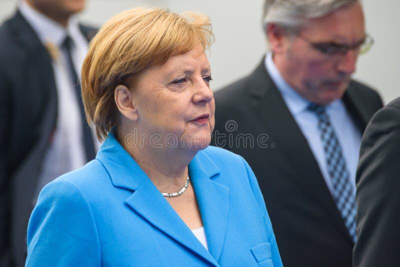 Angela Merkel, canciller de Alemania, durante llegada a la CUMBRE de OTAN 2018 imagenes de archivo