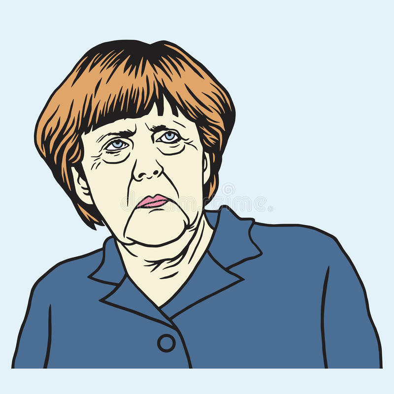 Angela Merkel Cartoon Vector Portrait stock illustration