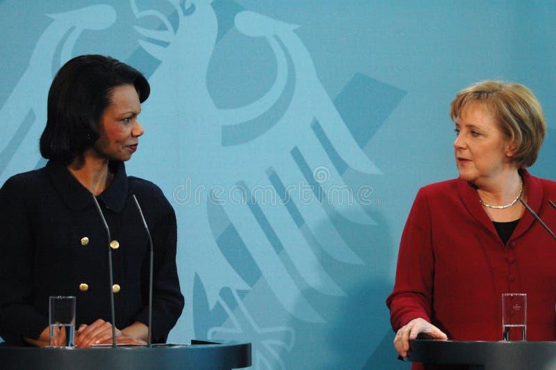 Angela Merkel, Condoleezza Rice stockbild
