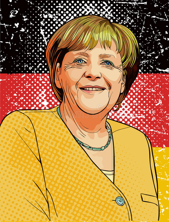 Angela Merkel portrait in line art illustration. Angela Dorothea Merkel is a German politician and former research scientist who has been the Chancellor of