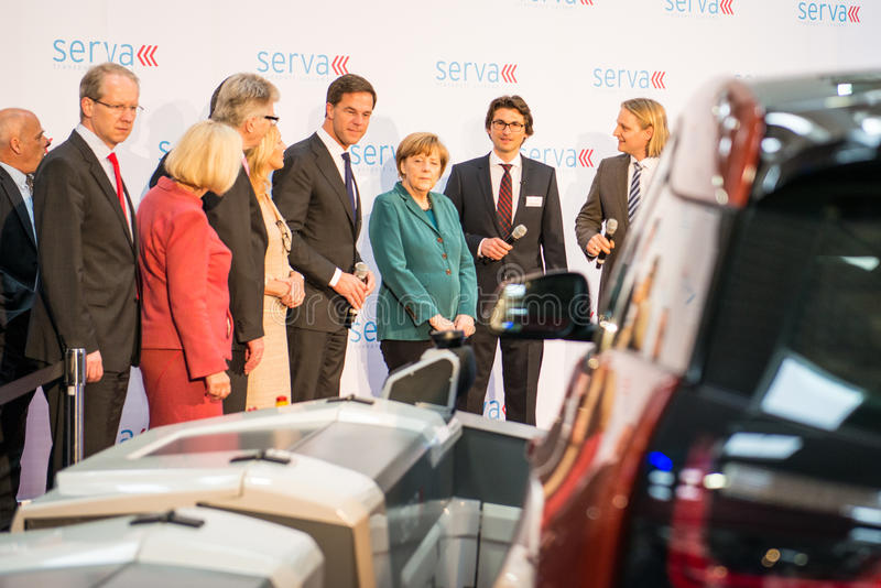 Angela Merkel et Mark Rutte à Hanovre Messe, le 7 avril 2014 image stock