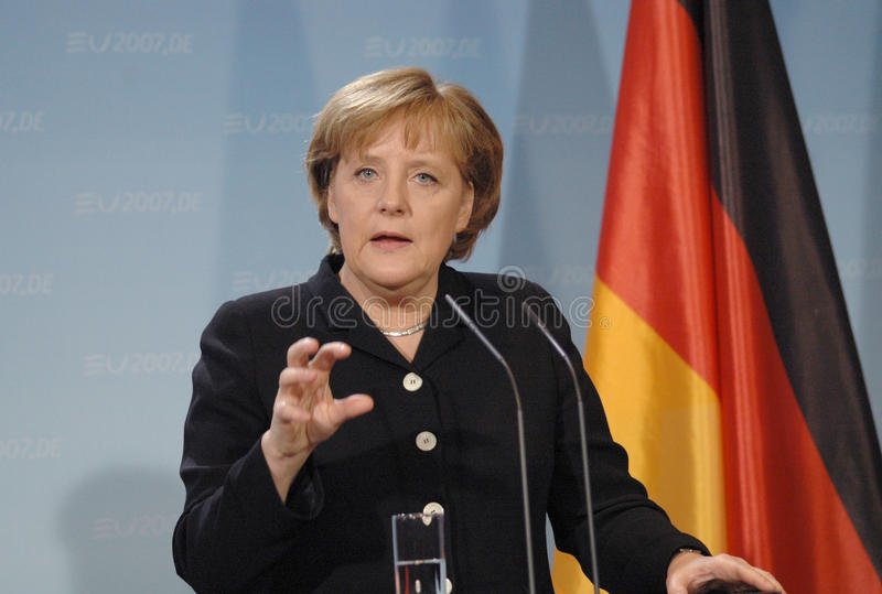 Angela Merkel. FEBRUARY 13, 2007 - BERLIN: German Chancellor Angela Merkel at a press conference after a meeting with the British Prime Minister in the Chanclery royalty free stock photos