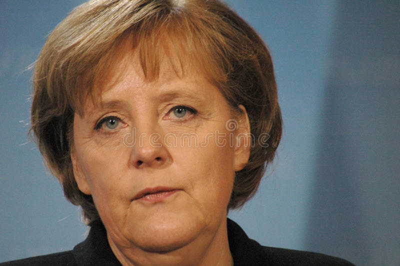 Angela Merkel. FEBRUARY 13, 2007 - BERLIN: German Chancellor Angela Merkel at a press conference after a meeting with the British Prime Minister in the Chanclery stock photo