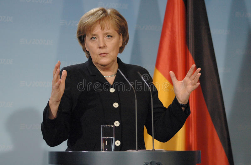 Angela Merkel. FEBRUARY 13, 2007 - BERLIN: German Chancellor Angela Merkel at a press conference after a meeting with the British Prime Minister in the Chanclery royalty free stock photography