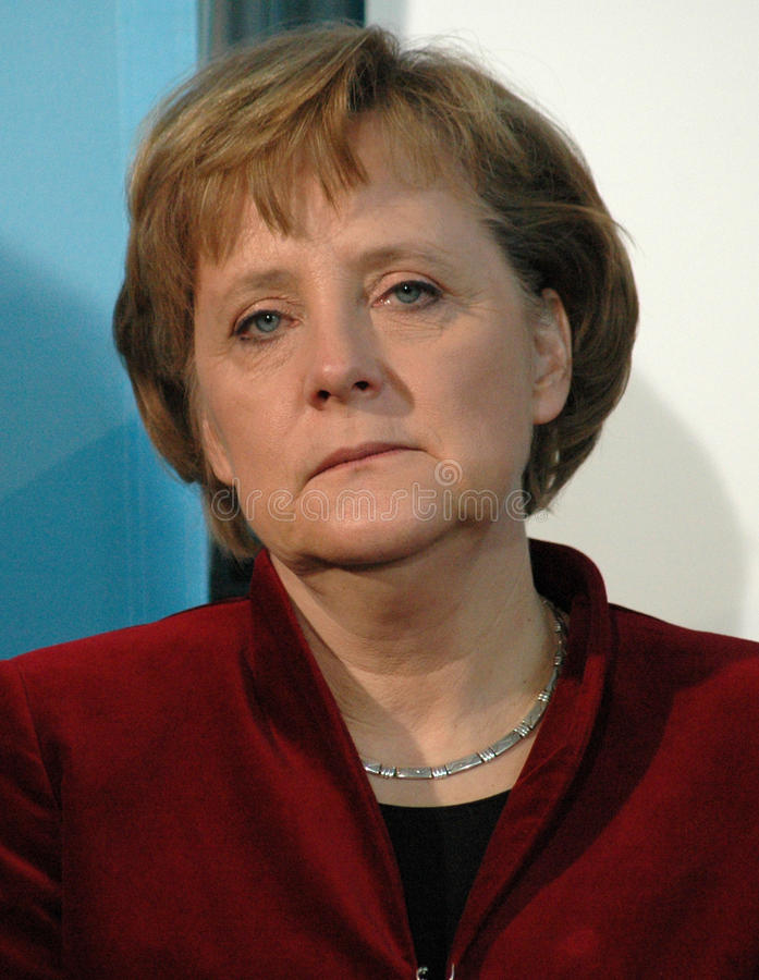 Angela Merkel. FEBRUARY 13, 2007 - BERLIN: German Chancellor Angela Merkel at a press conference after a meeting with the British Prime Minister in the Chanclery stock images