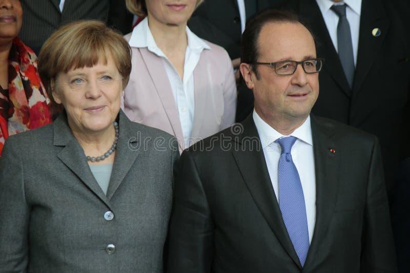 Angela Merkel, Francois Hollande royalty-vrije stock foto's