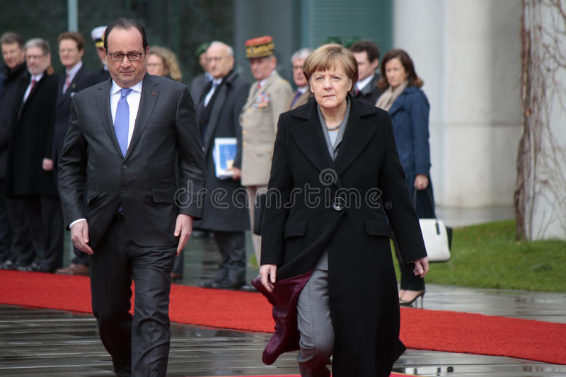 Angela Merkel, Francois Hollande immagine stock