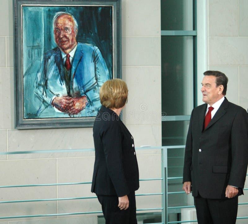 Angela Merkel, Gerhard Schroeder lizenzfreie stockfotos