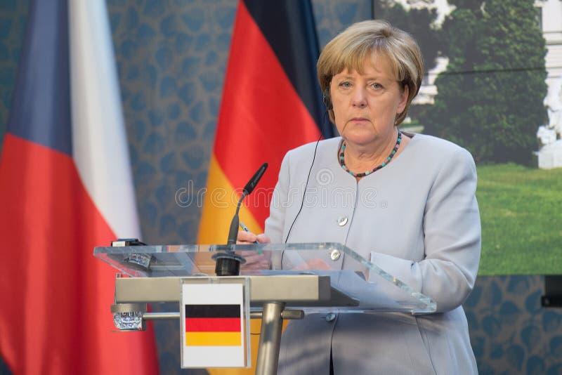 Angela Merkel. German Chancellor Angela Merkel during her visit in Prague, Czech republic, August 25, 2016 stock images