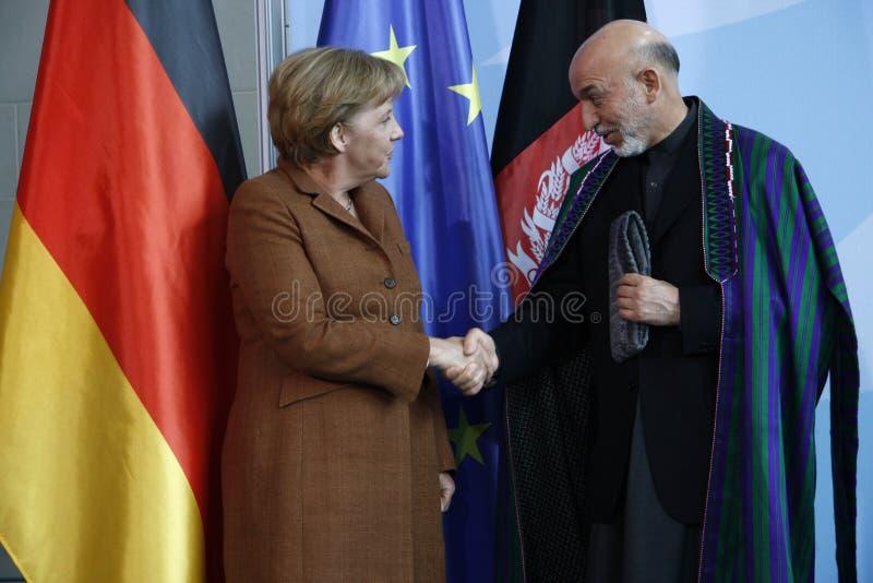 Angela Merkel, Hamid Karsai stockfoto