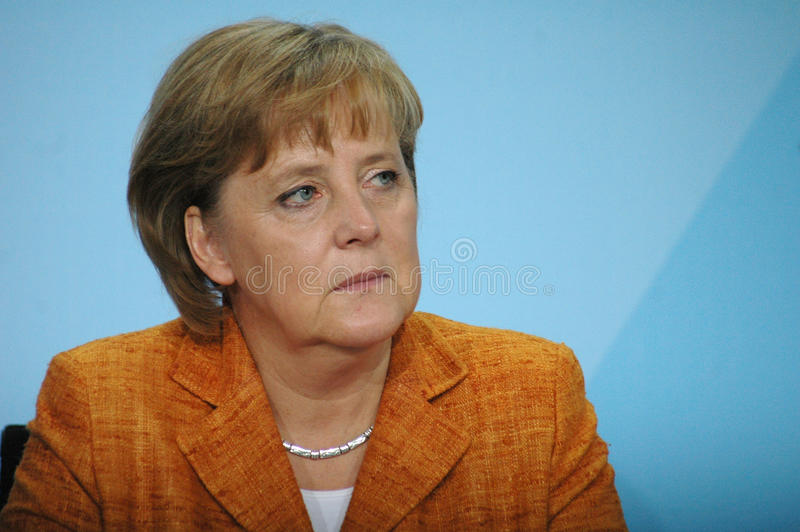 Angela Merkel. JULY 12, 2007 - BERLIN: Chancellor Angela Merkel during a press conference in the Chanclery royalty free stock photos