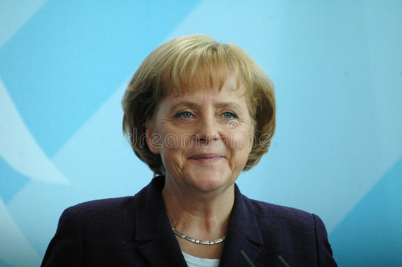 Angela Merkel. JULY 22, 2008 - BERLIN: German Chancellor Angela Merkel during a press conference after a meeting with the Iraqi Prime Minister in the Chanclery royalty free stock images