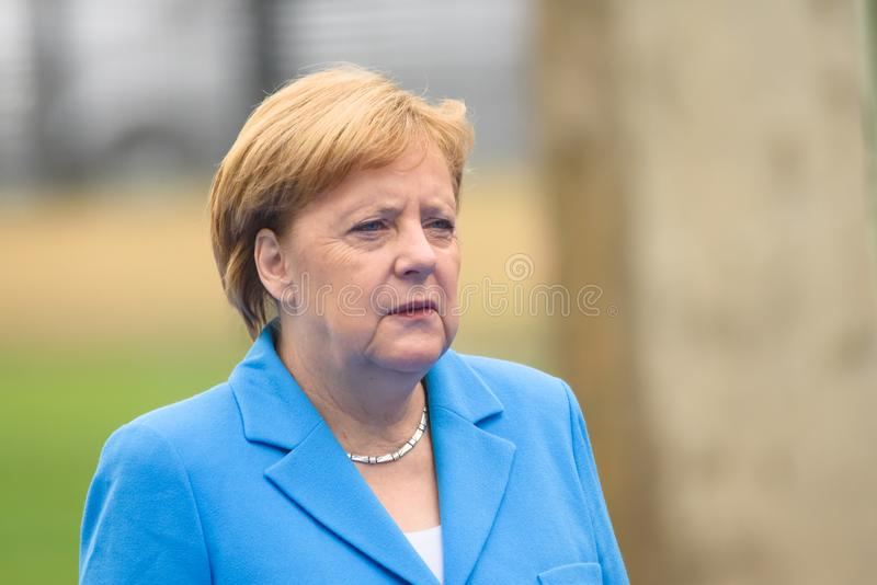 Angela Merkel, Kanzler von Deutschland, während der Ankunft zu NATO-GIPFEL 2018 stockfotos