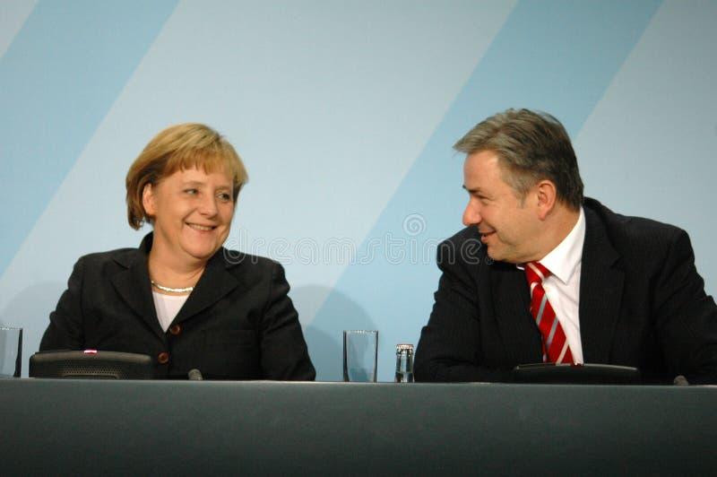 Angela Merkel, Klaus Wowereit stockfotos
