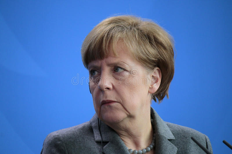 Angela Merkel. MARCH 31, 2015 - BERLIN: German Chancellor Angela Merkel at a press conference after a meeting with the French president in the Chanclery in stock image