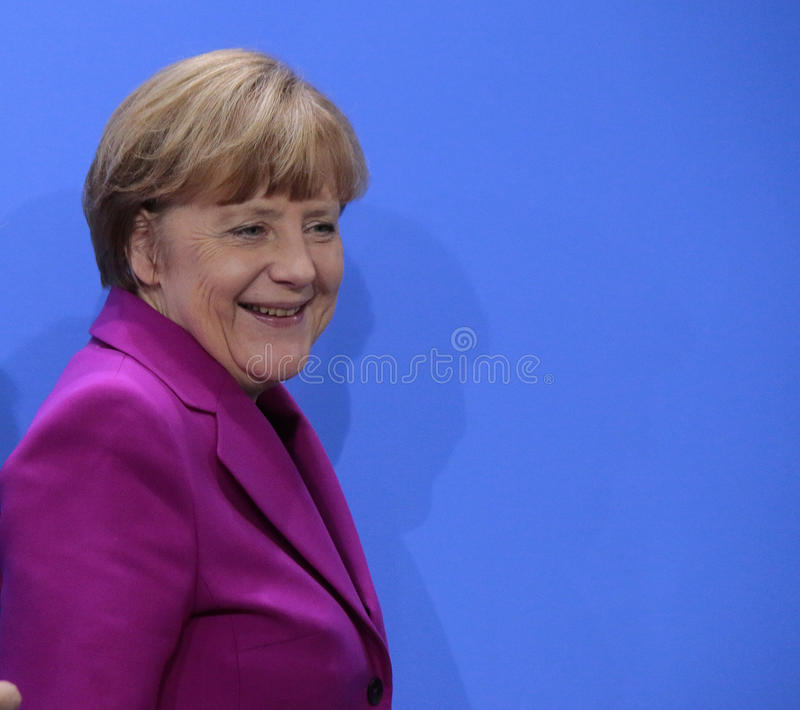 Angela Merkel. MARCH 11, 2015 - BERLIN: German Chancellor Angela Merkel at a press conference after a meeting with leaders of global financial institutions royalty free stock image