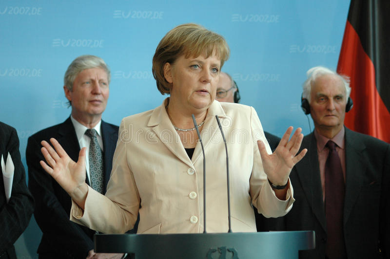 Angela Merkel. MAY 17, 2007 - BERLIN: Chancellor Angela Merkel at a meeting with the German Chancellor on the climatic change in the Chanclery in Berlin royalty free stock images