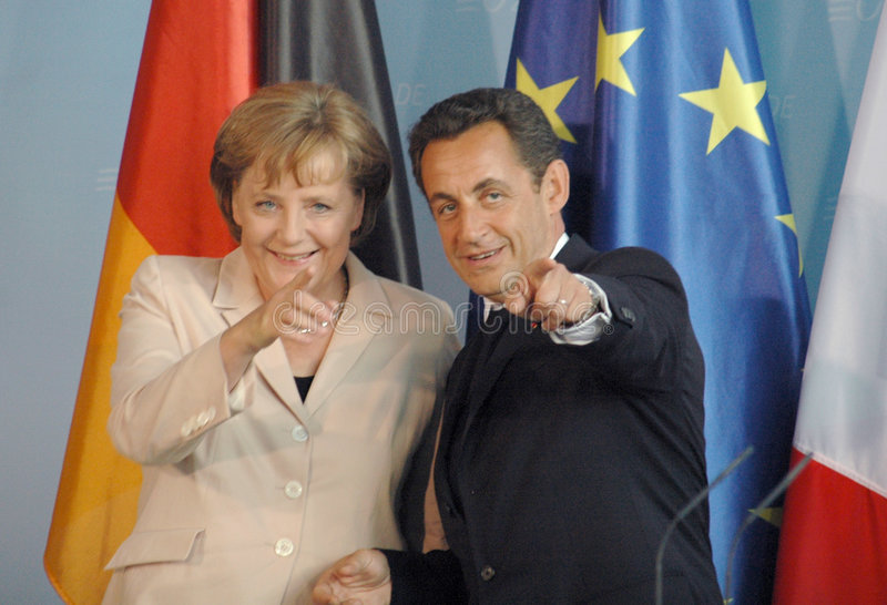 Angela Merkel, Nicolas Sarkozy. File image of 2007 stock photo