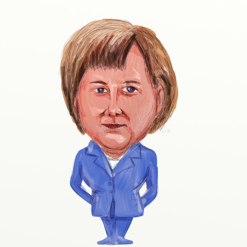 Angela Merkel Niemieckiego kanclerza kreskówka royalty ilustracja