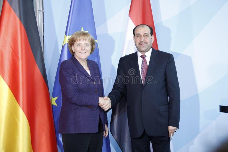 Angela Merkel, Nouri Al-Maliki stockbilder