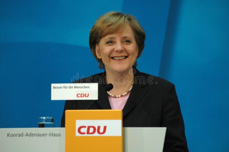 Angela Merkel. OCTOBER 10, 2005 - BERLIN: Chancellor Angela Merkel at a press conference in the Konrad-Adenauer-Haus, Berlin royalty free stock photos