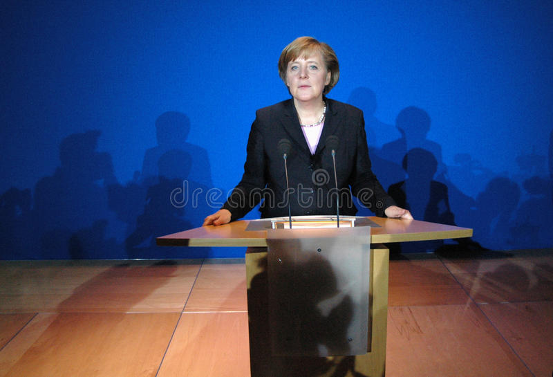 Angela Merkel. OCTOBER 17, 2005 - BERLIN: Angela Merkel during a press conference after the negotiations for a coalition treaty between the Christian Democrstas stock photography