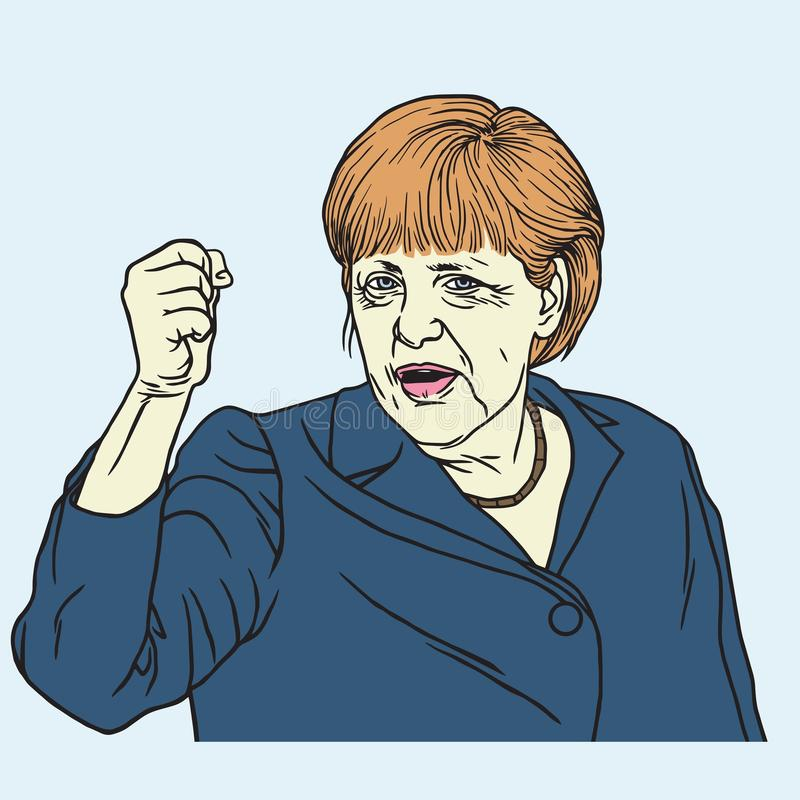 Angela Merkel Portrait Vector Illustration 26. September 2017 lizenzfreie abbildung